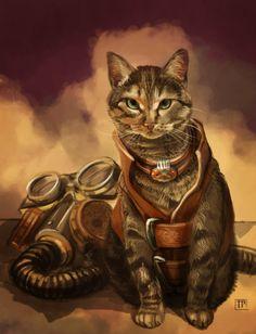 Zatanna: Steampunk Kitty by brainleakage. #steampunk #victorian #Art #gosstudio  .  ★ We recommend Gift Shop: http://www.zazzle.com/vintagestylestudio ★