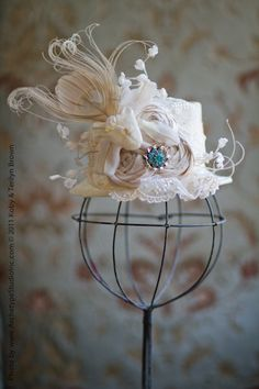 One Upon a Wedding Mini Hat  Tea died Silks by lisasminimadhattery, $88.00