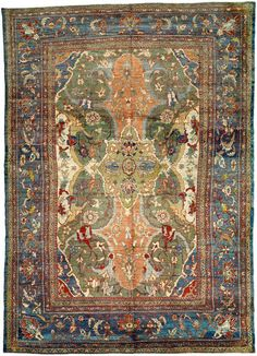 An unusual late 19th century Persian Sultanabad antique rug, the celadon field with allover abstract whimsical floral motifs around bold stylized cartouches in cobalt blue, beige, salmon and light olive green, within a steel blue scrolling leafy vine and palmette border. Watch full size video of A Persian Sultanabad rug, Circa 1880, ID BB3264 - Video