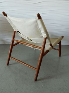 Vilhelm Wohlert; Oak and Canvas 'Triangle' Chair, 1952.