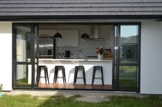 Kiwi's love their indoor outdoor flow. Large stacker doors here open up to where a deck is planned. Furniture, House, Interior, How To Plan, Home, Stacker Doors, House Plans, Indoor, Interior Design
