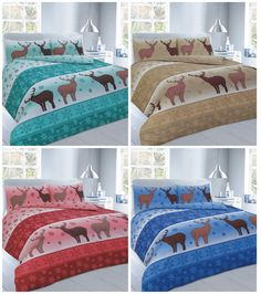 Christmas Fawn Deer Duvet Cover Bedding Set Single Double King Super King