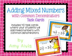 Fraction Task Cards Adding Mixed Numbers with Common Denominators Math Task Cards, Fractions, Cover Pages, Percents, Numbers, Student, Ads, Education, Classroom Ideas
