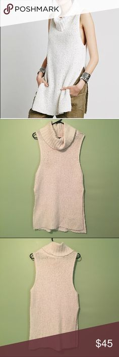 NWOT Free People sleeveless sweater Cowl neck, soft chunky knit, style is Whitehorse, side slits.  Size tag is missing, can really fit any size depending on how baggies you want it to be! Free People Sweaters Cowl & Turtlenecks