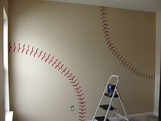 baseball wall. Do each different wall a different ball! Such a good idea for the boy room!