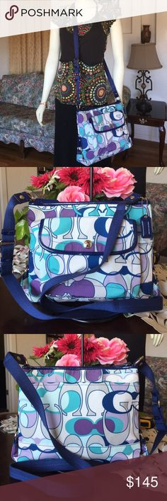 """Coach Kyra Scarf Print File Crossbody Bag 18839 Coach signature Coach Kyra Scarf Print File Crossbody Bag 18839, retail $398 , color: white/navy/turquoise/purple with silvertone hardware ,Signature fabric with patent leather trim Inside zip and multifunction pockets Approximately: 12"""" L x 9"""" H x 3"""" W Zip closure, fabric lining Creed serial number inside the bag, used but in great condition,smoke:pet free .100% authentic Coach Bags Crossbody Bags"""