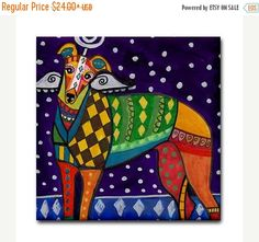 60% Off Today- GREYHOUND art Tile Ceramic Coaster Mexican Folk Art Print of painting by Heather Galler dog