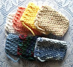 Handmade Crocheted Dual Purpose Cotton Exfoliating LOOFA SOAP SAVER Bags  Pouches by Kathy's Creations $7.50 each