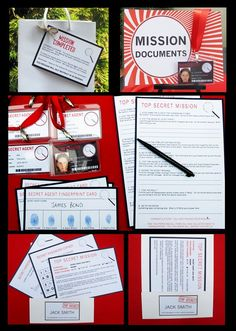 Spy party printables - would be awesome to keep a photo of each guest and their fingerprint card for a scrapbook!