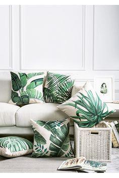 Housse de coussin deux feuilles palmiers verts