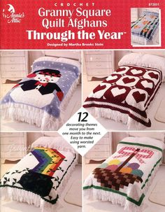 Granny Square Quilt Afghans Through the Year, Annie's crochet patterns OOP rare #AnniesAttic #Afghan