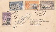 FID Trans-Antarctic cover signed by expedition leader, Sir Edmund Hillary, the conqueror of Mt Everest. with Shackleton Base CDS of 30 January 1956 Stamps, January, Place Card Holders, Base, Signs, Cover, Seals, Shop Signs, Postage Stamps