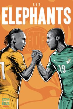 "Ivory Coast, ""Les Elephants"" Ivory Coast; ivory tusks. The national team is named ""Les Elephants"" due to their part in the 19th century ivory trade."