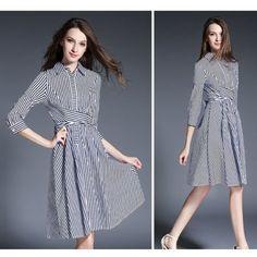STRIPE CROSS FRONT DRESS