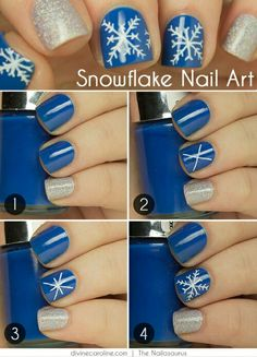 Cool DIY Nail Art Designs and Patterns for Christmas and Holidays - DIY Snowflake Design - Do It Yourself Manicure Ideas With Christmas Trees, Candy Canes, Snowflakes and Glittery Designs for Holiday Nails - Step by Step Tutorials and Instructions Diy Christmas Nail Art, Holiday Nail Art, Christmas Nail Art Designs, White Christmas, Christmas Trees, Christmas Holidays, Fancy Nails, Cute Nails, Pretty Nails