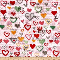 Vintage Valentine Toile Pink from @fabricdotcom  Designed by Anne Was Here for Clothworks, this cotton print collection features sweet love-themed prints. Perfect for quilting, apparel, and home decor accents. Colors include shades of pink, grey, green, and mustard.