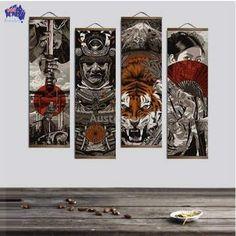 Ukiyo-e Modular Canvas Wall Hanging Scrolls samurai galdiator viking ninja warrior Diy Canvas Frame, Frames For Canvas Paintings, Canvas Art Prints, Wall Canvas, Canvas Pictures, Wall Art Pictures, Living Room Pictures, Tribal Warrior, Ninja Warrior