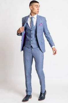 Click here to discover our collection of Men's 3 Piece Suits. Browse our vintage inspired designs in a variety of prints, colours & materials. Shop today! Mens 3 Piece Suits, Three Piece Suit, Mens Suits, Classic Blue Suit, Classic Blues, Pin Collar Shirt, Collar Shirts, Blue Check Suit, Suit Drawing