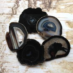 Amazing Agate Coaster Agate Coasters Set 2 to 10 Agates Geode Coasters -Gold, Silver or Natural Edge - Black Brown Green Blue Pink Purple by HandmadeByGin on Etsy Black Coasters, Agate Coasters, Turquoise Accents, Coaster Furniture, Black Agate, Coaster Set, Black And Brown, Dark Brown, 18k Gold