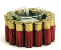 Light up your table with the Shotgun Shell Votive Holder! This elegant candle holder features many shotgun shells arranged in a circle to hold your favorite candles. This votive holder makes the perfe Shotgun Shell Art, Shotgun Shell Crafts, Shotgun Shells, Shotgun Shell Jewelry, Glass Votive, Votive Candle Holders, Votive Candles, Ammo Crafts, Hunting Crafts