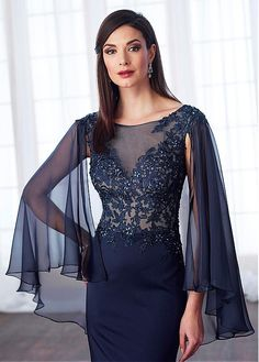 Buy discount Shining Silk-like Chiffon & Acetate Satin Bateau Neckline Cape-sleeves Sheath/Column Mother Of The Bride Dresses With Beaded Lace Appliques at Laurenbridal.com