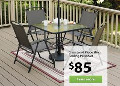 Cranston 6 Piece Sling Folding Patio Set | Walmart.ca $85 | outside ...