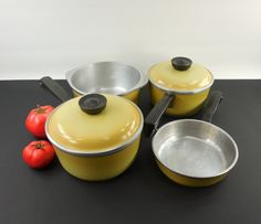 set club aluminum cookware harvest gold yellow u0026 2 quart saucepans 2 quart dutch oven skillet by on etsy