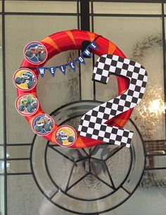 Blaze and the Monster Machines birthday wreath. Made this for my son's 2nd birthday party