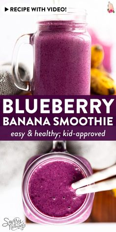This is one of our favorite smoothies: Sweet banana delicious blueberries fiber-rich oats and creamy yogurt come together into one healthy kid-friendly breakfast drink (or snack!) that only takes a few minutes to whip up. Smoothies For Kids, Easy Smoothies, Smoothie Recipes, Drink Recipes, Homemade Desserts, Delicious Desserts, Quick Meals For Kids, Light Recipes, Easy Recipes