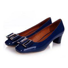 Ferragamo Selia Patent Leather Pumps Blue - Click Image to Close