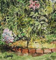 """Bryn Craig - """"The Garden"""" Watercolor on paper 6.75 x 6.25 inches 2014. Mark Feb. 21st on your calendar to join the reception of BLOOM  #art #exhibition #reception #oakland #sanrafael #ca #sf #painting #bloom"""
