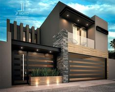 Inspirational ideas about Interior Interior Design and Home Decorating Style for Living Room Bedroom Kitchen and the entire home. Curated selection of home decor products. Modern House Facades, Modern Exterior House Designs, Dream House Exterior, Modern Architecture House, Modern House Plans, Modern House Design, Architecture Design, House Gate Design, Bungalow House Design