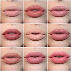Top to bottom, left to right we have NYX Butter Gloss in Fortune Cookie, NYX Soft Matte Lip Creme in Stockholm, NARS lipstick in Cruising, NARS lipstick in Pigalle, MAC lipstick in Myth, NARS lipstick in Dolce Vita, MAC lipstick in Cherish, NYX Butter Lipstick in Pops, and MAC lipstick in Fanfare.