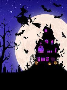 Deco Porte Halloween, Casa Halloween, Halloween Backdrop, Halloween Canvas, Purple Halloween, Halloween Scene, Halloween Poster, Halloween Painting, Theme Halloween