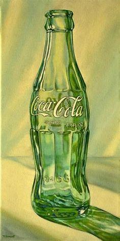 """""""Coke Bottle Two"""" oil on canvas (16 x 8 inches). Original Fine Art for Sale - © 2016 Margaret Horvat. See more works by Margaret Horvat at www.horvatart.com."""