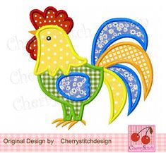 Rooster 02 Digital Applique -4x4 5x7 6x10-Machine Embroidery Applique Design Mais
