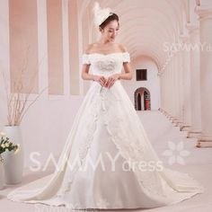 $167.01 Sweet Off-Shoulder Embroidery Flower Pattern Bowknot Chapel Train Wedding Dress For Bride