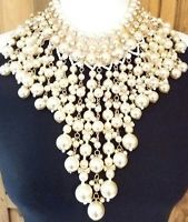 AMAZING BRIDAL WEDDING PEARL BEADS & CRYSTAL CLEAR RHINESTONE RUNWAY NECKLACE