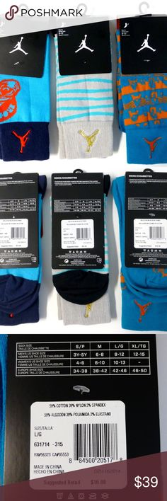 Nike Jumpman 3 pair crew socks large (8-12) NWT New with tags. Left/right ergonomic fit for comfort. Cotton nylon spandex blend. Nike Underwear & Socks Athletic Socks