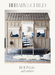 Charming detailing, board-and-batten design and kid-friendly scale distinguish our lofted bed. Not just a spot to sleep, it doubles as a fort, playhouse, or cabin in the woods for your little adventurer. Save 25 on everything with the RH Members Program. Girl Room, Girls Bedroom, Bedroom Decor, Bedroom Ideas, Bedroom Designs, Nursery Ideas, Cabin Beds For Kids, Toddler Cabin Bed, Boys Cabin Bed
