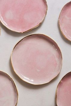 Dessert Plates in Rose and Gold (set of two) – Suite One Studio Ceramic Plates, Ceramic Pottery, Ceramic Art, Blueberry Home, Rose Quartz Color, Cerámica Ideas, Decor Ideas, Pink Plates, Bowls