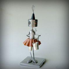 Trick or Treat - robot witch - metal art sculpture