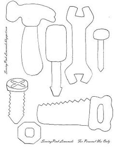 Pattern for felt tools - there's also a link to a tutorial for a felt tool box to go with them.