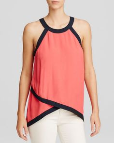 AQUA Top - Tipped Sleeveless Cross Front