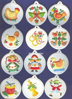 12 days of christmas ornaments these are getting old but all 12 have survived with