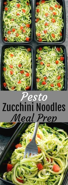 An easy and flavorful meal that can be made ah… Pesto Zucchini Noodles Meal Prep. An easy and flavorful meal that can be made ahead of time for your weekly meal prep. Vegetarian Meal Prep, Lunch Meal Prep, Meal Prep Bowls, Easy Meal Prep, Healthy Meal Prep, Vegetarian Recipes, Healthy Recipes, Meal Prep For Vegetarians, Weekly Meal Prep
