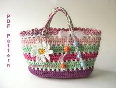 Crochet Bag Pattern Girls Purse Daisy Flower Spring MariMartin Download Immediately op Etsy, 3,47 €