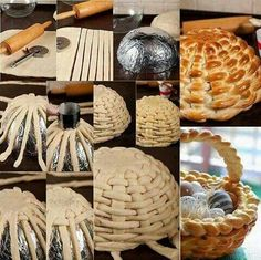This idea is so fun ! I'd like to make a braided bread basket . To make this bread basket first you will knead a bread dough. After rise up, roll out with a rolling pin until get a large square 11 x 11 inch and thick.Cut the dough into strips — inch… Bread And Pastries, Art Du Pain, Easter Recipes, Holiday Recipes, Holiday Meals, Bread Art, Braided Bread, Creative Food, Creative Ideas