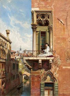 Ludwig Johann Passini (1832-1903) - Junge Frau auf dem Balkon eines gothischen Palazzo in Venedig