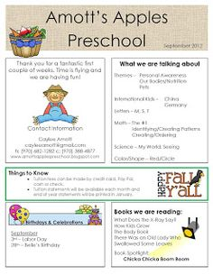 1000 Images About Preschool Newsletter On Pinterest